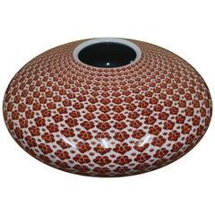 Large Japanese Red Contemporary Kutani Porcelain Vase by Master Artist