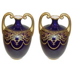 Pair of Cobalt Blue Porcelain Vases