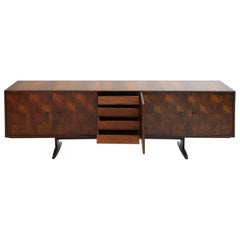 Brazilian Jacaranda Rosewood Parquetry Sideboard by Giuseppe Scapinelli, 1960s