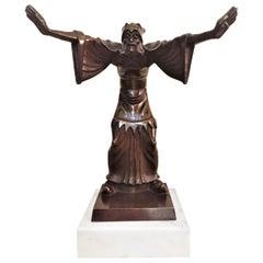 Jenő Kerényi, Magician, Hungarian Art Deco Patinated Bronze Sculpture, 1930s