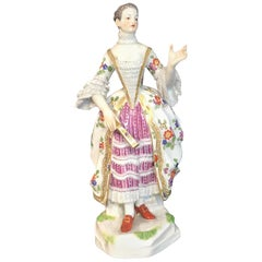Meissen Kaendler Figure of a Lady of the Court with a Fan, 1910 Edition