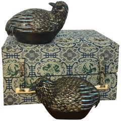 Pair of Chinese Export Sterling and Enameled Quail Boxes, #4 of 500