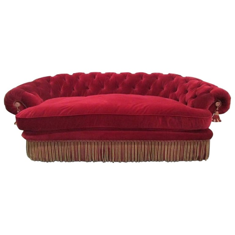 1940s French Art Deco Tufted Mohair Sofa For Sale