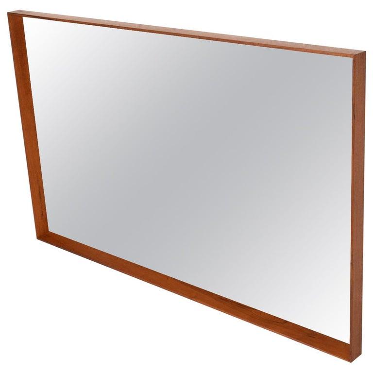 Midcentury Danish Modern Teak Wall Mirror Wegner Era For Sale