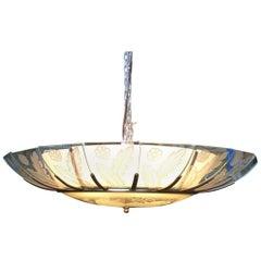 Modernist Tropical Etched Slat Glass Bowl Bronze Chandelier