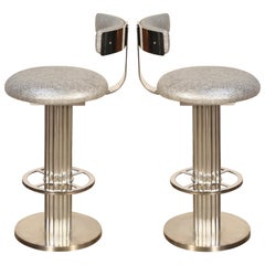 Pair of Memory Swivel Polished Aluminum Barstools by Designs for Leisure, 1980s
