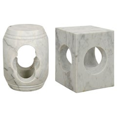 Set of 2 Geometric Side Tables Made of White Quartz Marble