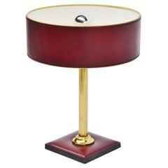 Jacques Adnet Leder gekleidete Lampe in rot Frankreich 1960