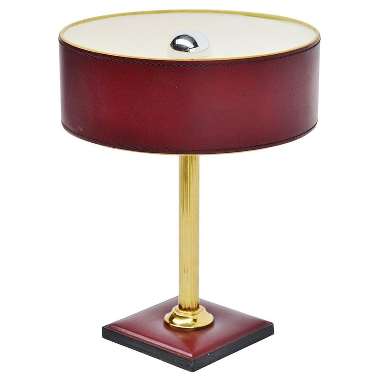 Jacques Adnet Leather Clad Lamp in Red France, 1960 For Sale