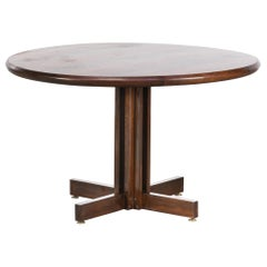 1980s Rosewood Round Dining Table in the Style of Joaquim Tenreiro