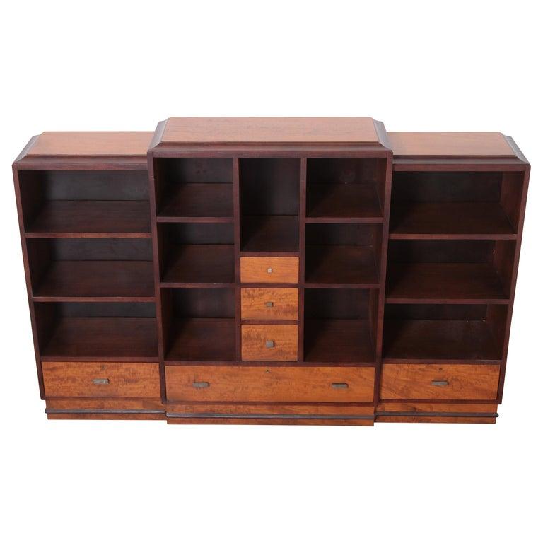 Art Deco Dynamique Creations Johnson Furniture Co. Skyscraper Bookcase Wall Unit For Sale