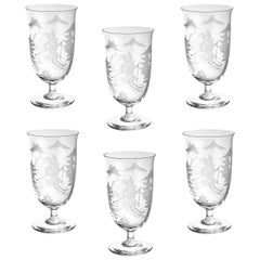 Set of Six Glasses Hand Blown Clear Skier Decor, Sofina Boutique Kitzbuehel