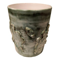 Country Style Pottery Vase Green Handmade Sofina Boutique Kitzbühel