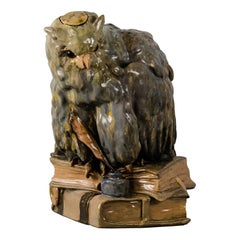 Big Ceramic Golscheider Owl Lamp