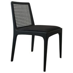 """Julia"" Chair in Ebony Finish Solid Wood and Customized Handwoven"