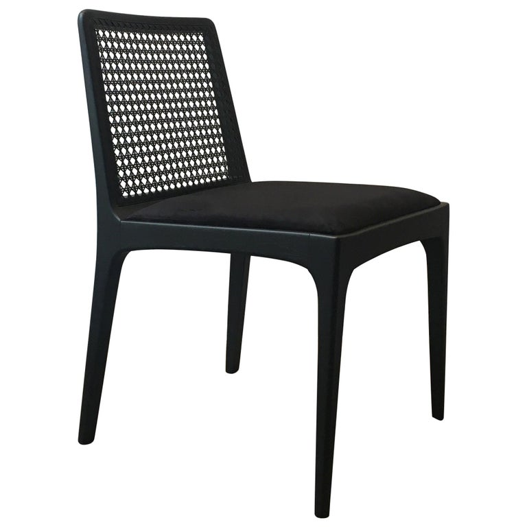 """""""Julia"""" Chair in Ebony Finish Solid Wood and Customized Handwoven For Sale"""