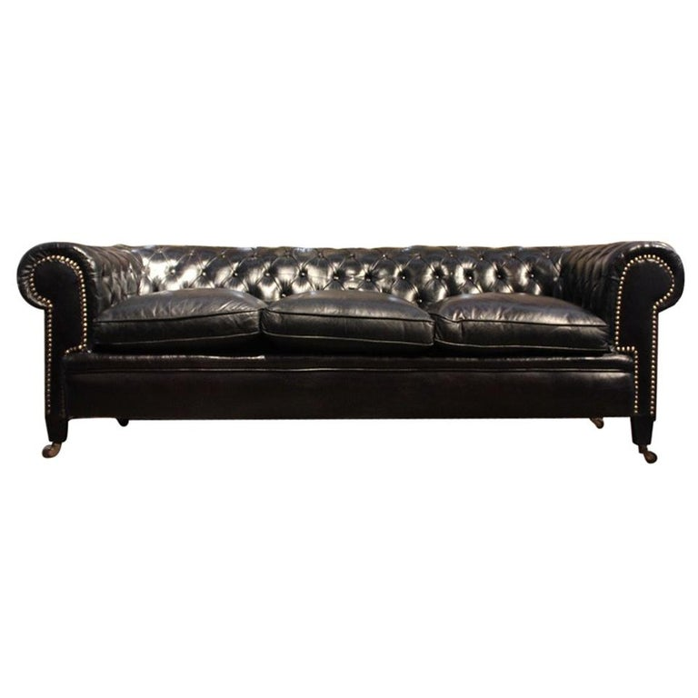 Leather Sofas Gloucestershire: Black Leather Chesterfield Sofa For Sale At 1stdibs