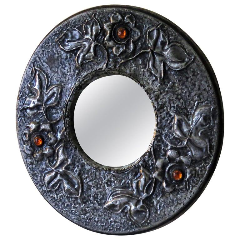 Hammered Pewter Wall Mirror Arts & Crafts with Amber Cabochons, circa 1900 For Sale