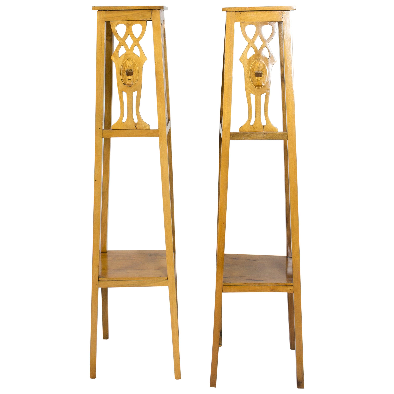 Art Nouveau Walnut Flower Stands / Pedestals