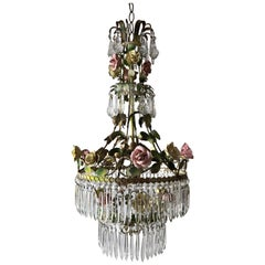 1920 French Porcelain Roses and Crystals Chandelier