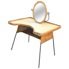 Vanity in Lacquered Metal and Rattan, circa 1960