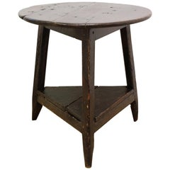 Oak Tavern Cricket Table with Shelf, George IV, English, 19th Century, Patina