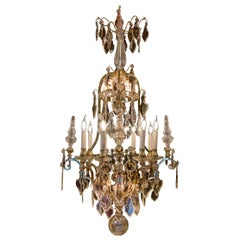 Cristalleries de Baccarat, French Louis XIV Style, Gilt Bronze and Chandelier