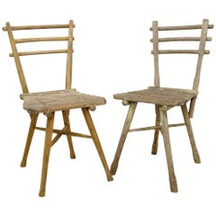 French Rustic Early 20th Century Handcrafted Chairs, Near Pair with Patina
