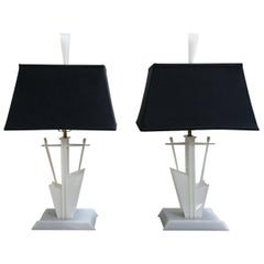 Midcentury Pair of 1950s Lucite American Modernist Lamps Moss Lighting Co.