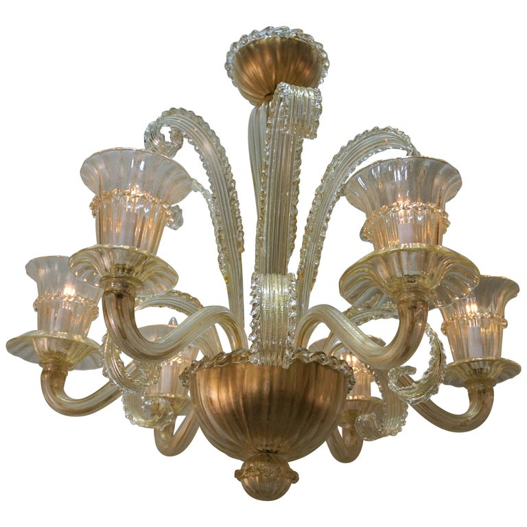 Murano Glass Chandelier by Barovier Toso For Sale