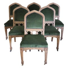 Six 19th Century English Bleached Oak Arts & Crafts Chairs