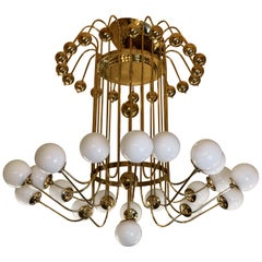 Late 20th Century Italian Brass Chandelier with White Opaline Glass Diffusers
