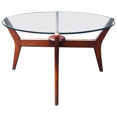 Midcentury Teak Coffee Table Floating Glass Danish Pearsall Style