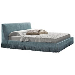 Haute Couture Italian Leather Bed with Perimeter Fringes