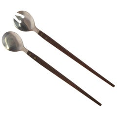 Mid-Century Modern Rosewood and Stainless Salad Servers, Japan