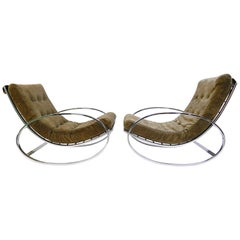Renato Zevi for Selig Ellipse Chrome Ricking Chairs New Suede Upholstered