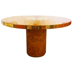 Round Dining Table in Brass and Wood by Willy Rizzo for Mario Sabot, 1970s