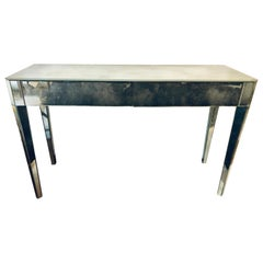 Mid-Century Modern Hollywood Regency Two-Drawer Mirrored Console / Entry Table