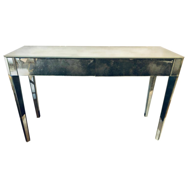 Mid-Century Modern Hollywood Regency Two-Drawer Mirrored ...