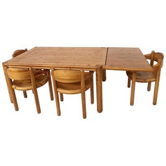 Wood Dining Set by Rainer Daumiller, 4 Chairs and Table