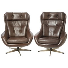 Pair of Midcentury Leather Swivel Chairs by Danish Designer H.W. Klein