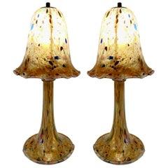 Pair of Mushroom Lamps in Glass Paste
