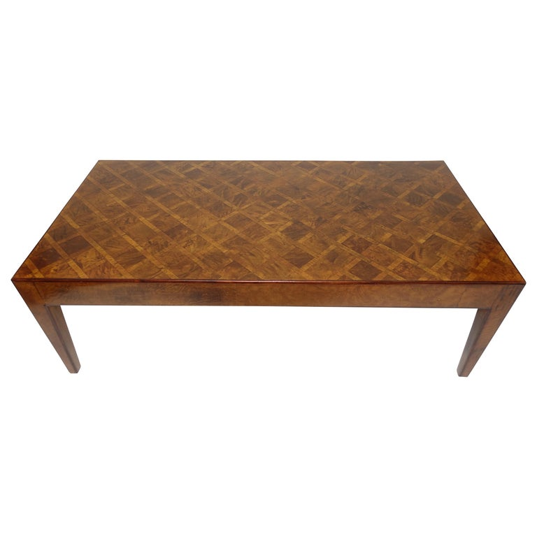 Italian Walnut and Burl Walnut Parquetry Coffee Table, circa 1960 For Sale