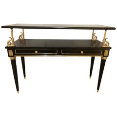 Ebony and Bronze Mounted Hollywood Regency Serving Cart or Étagère Jansen