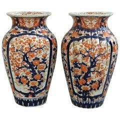 Antique Pair of Imari Open Vases