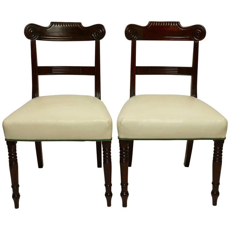 Pair of Regency Mahogany Dining Side Chairs, English, circa 1830 For Sale