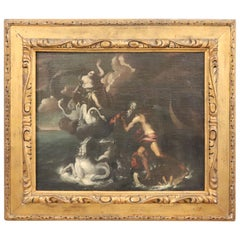 17th Century Italian Oil Painting on Canvas, Subject Mythological