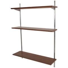 Mid-Century Modern Bookcase Shelving Wall Unit, One Bay, Walnut & Aluminum Eames