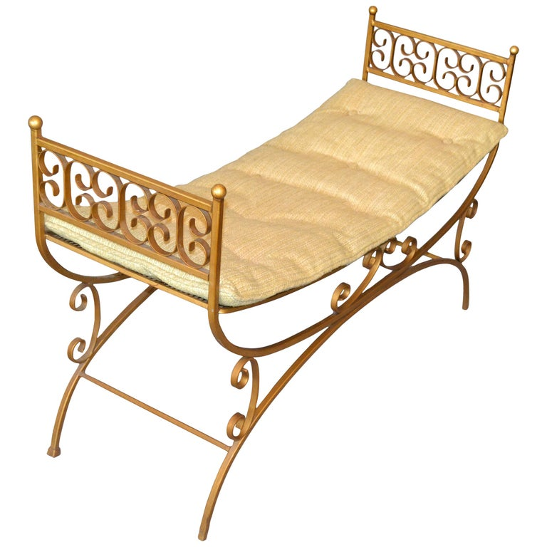 Golden Wrought Iron Bench With Cushions