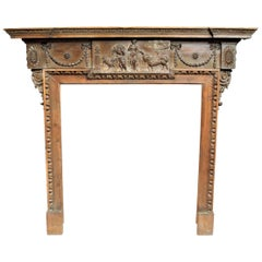 George III Carved Pine Chimney Piece / Fire Surround